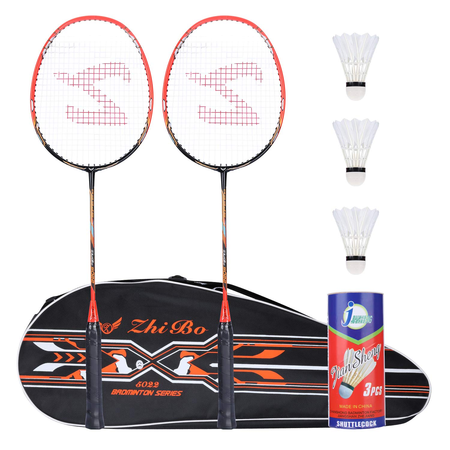 Fostoy Badminton Racquet Badminton Racket Set-Professional Carbon Fiber Badminton Racket with 3 shuttlecocks and Carrying Bag-Perfect for Adults (Orange)