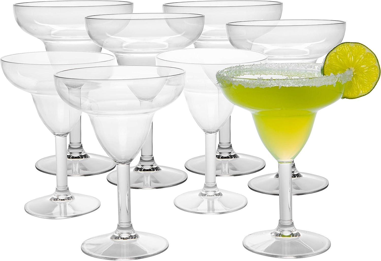 Deco Unbreakable Margarita Glasses - 100% Tritan - Shatterproof, Reusable, Dishwasher Safe (Set of 8)