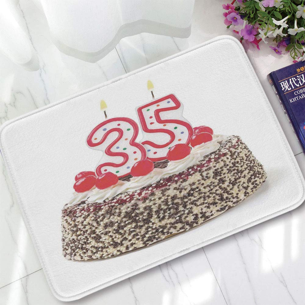 YOLIYANA Bath Mat,35th Birthday Decorations,for Dining Room Bathroom Office,15.75''x23.62'',Gourmet Desert Cherry Cake Party Special
