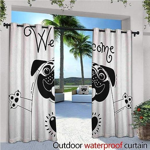 Cortina de privacidad para pérgola con diseño de perro con texto en inglés