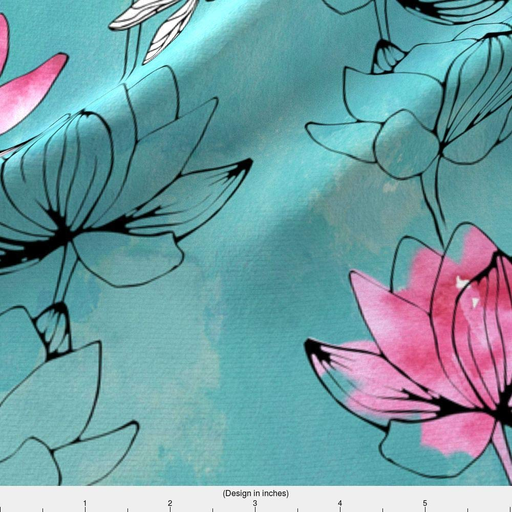 Amazon Watercolor Flower Fabric Watercolor Flower Dragonfly