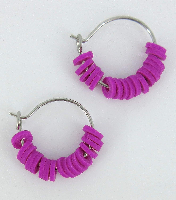 15mm Stainless Steel Neon Purple Polymer Clay Katsuki Bead Hoop Earrings