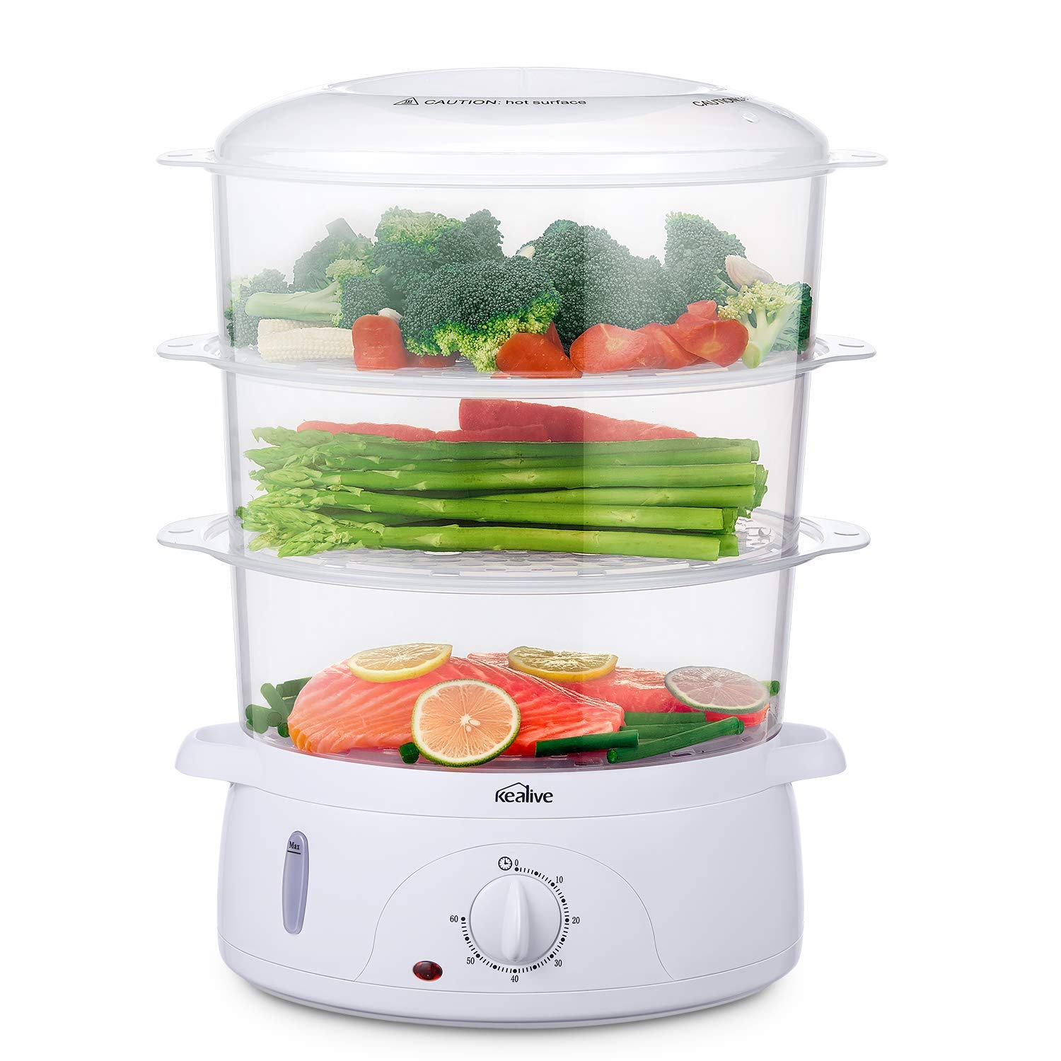 Food Steamer, Vegetable Steamer BPA-Free with Timer and 3 Tier Stackable Baskets, Electric Steamer Pot Cooker Built-in Rice Bowl , 9.5 Quart Capacity and 800W Fast Heat Up, by Kealive HY-4401