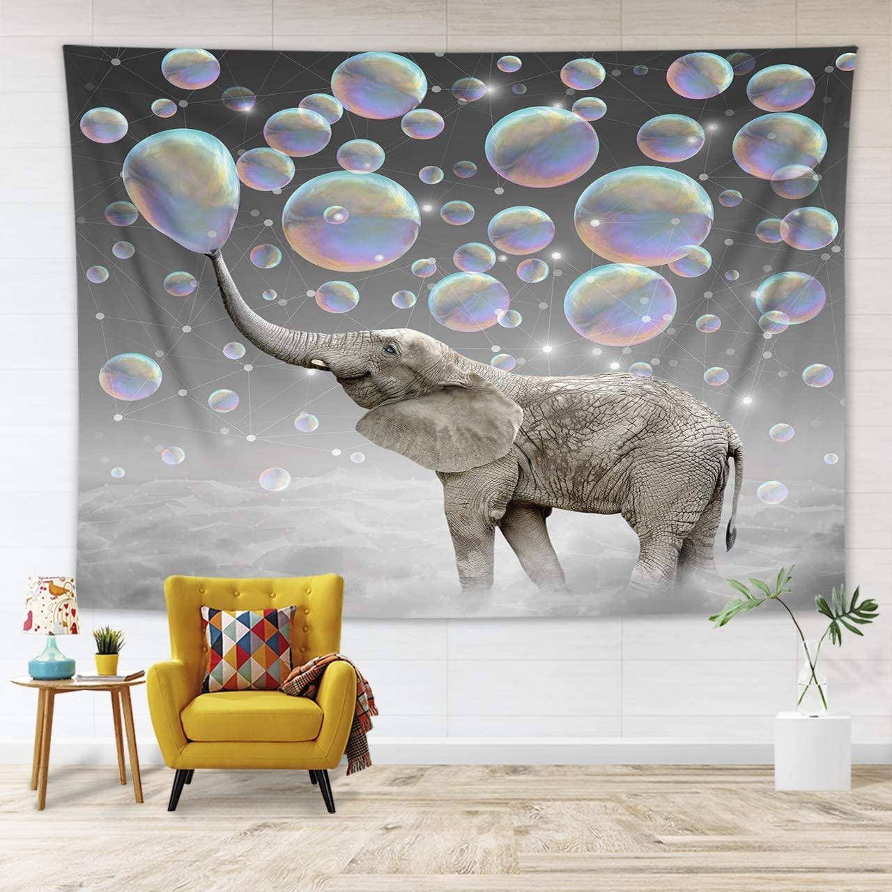 HVEST Animal Elephant Tapestry Cute Funny African Wild Hunting Elephant Spit Bubble Tapestries for Living Room Bedroom Dorm Home Party Child Indie Room Decor Poster ,60x40 Inches