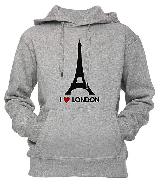 Yo Corazón Londres Eiffel Torre Unisexo Hombre Mujer Sudadera con Capucha Pullover Gris Los Tamaños Unisex Mens Womens Hoodie Grey: Amazon.es: Ropa y ...