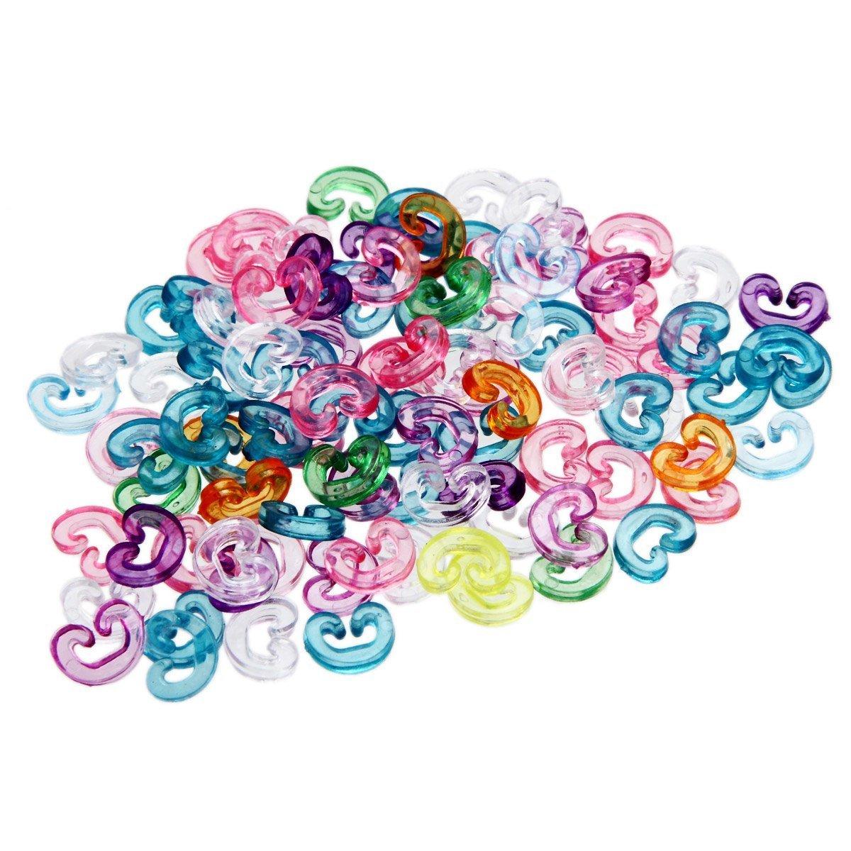 ETHAHE Loom Bands Recharge de 100pcs C-Attaches Multicolores pour Bracelets Elastiques