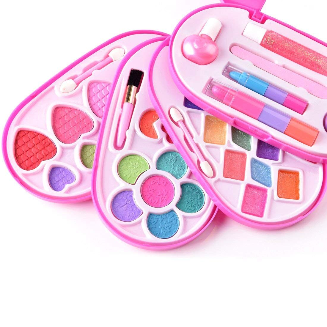 BonnieSun Kids Makeup Kits Girls Washable Cosmetics Dress-up Toys Safety Tested Vanity Deluxe Beauty Palette Set Mirror by BonnieSun (Image #4)
