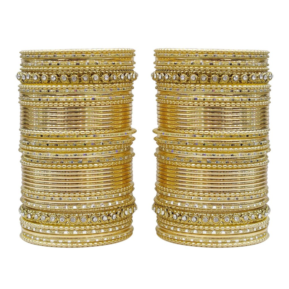 MUCH-MORE 86 Bangles Set of Multi Colour Amazing Collection of Bangles Set for Womens (Golden, 2.6)