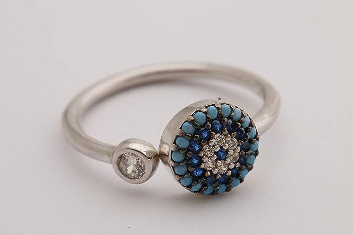 Nazar Good Luck! Turkish Handmade Jewelry Evil Eye Round Turquoise Sapphire  Topaz 925 Sterling Silver Rhodium Ring Adjustable Size