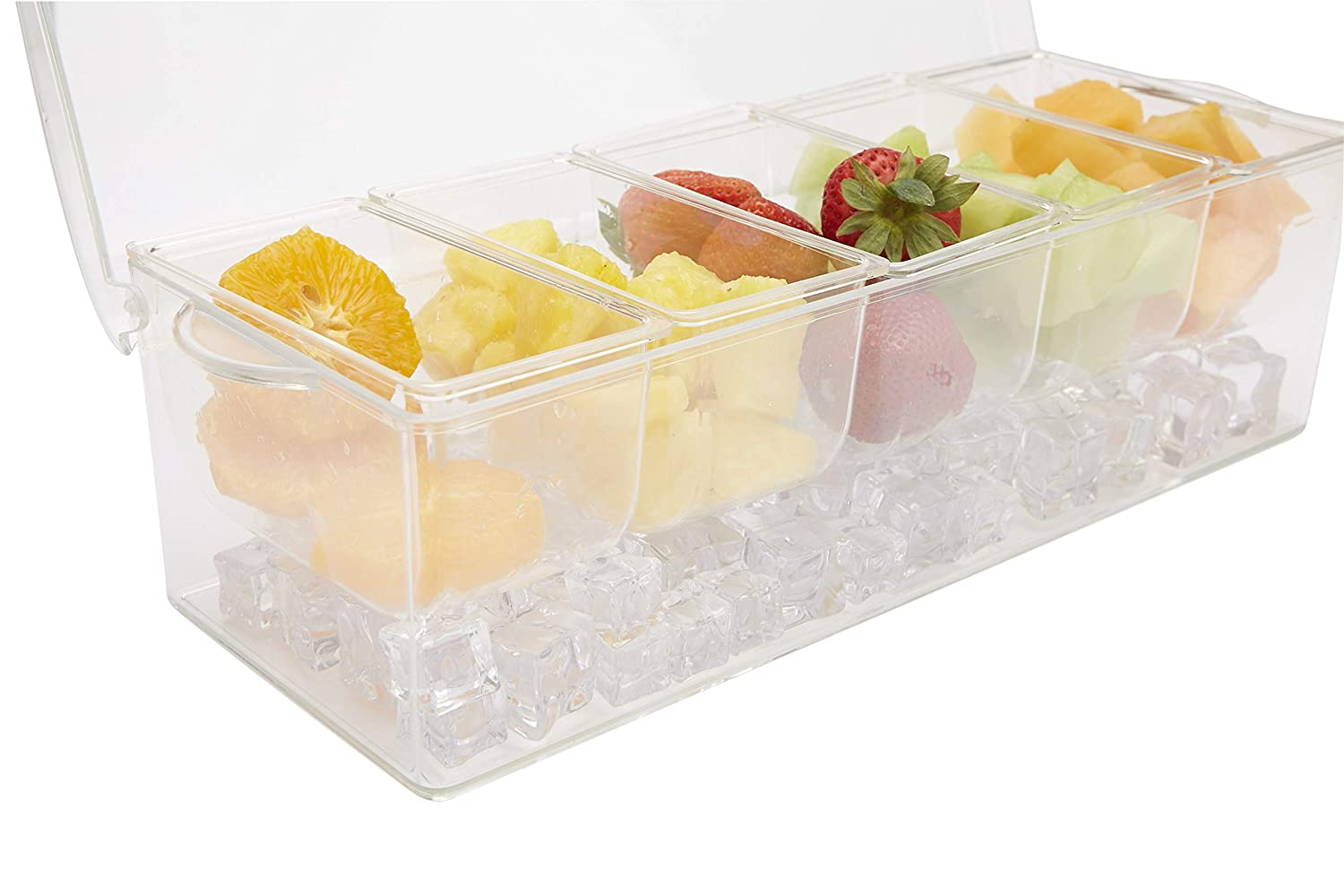 One Size, Mind Reader 5SERVE-CLR 5 Compartment Tongs /& 3 Spoons Chilled Acrylic Serving Tray Condiment Container Clear