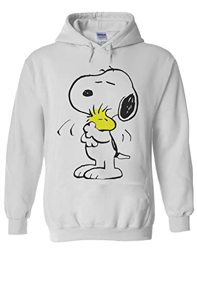 670eb88a1 Snoopy PEANUTS Cartoon Happy Cute White Men Women Unisex Hooded Sweatshirt  Hoodie at Amazon Men's Clothing store: