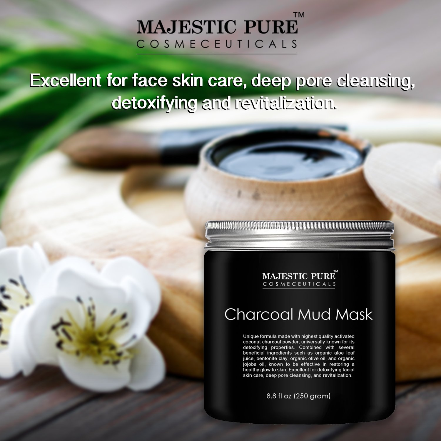 Charcoal Mask To Clear Pores And Detox Skin: Majestic Pure Activated Charcoal Mask,Clear Complexion