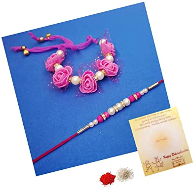 Decorative Buckets Combo Of Hand Crafted Paper And Stone Pearl Rakhi