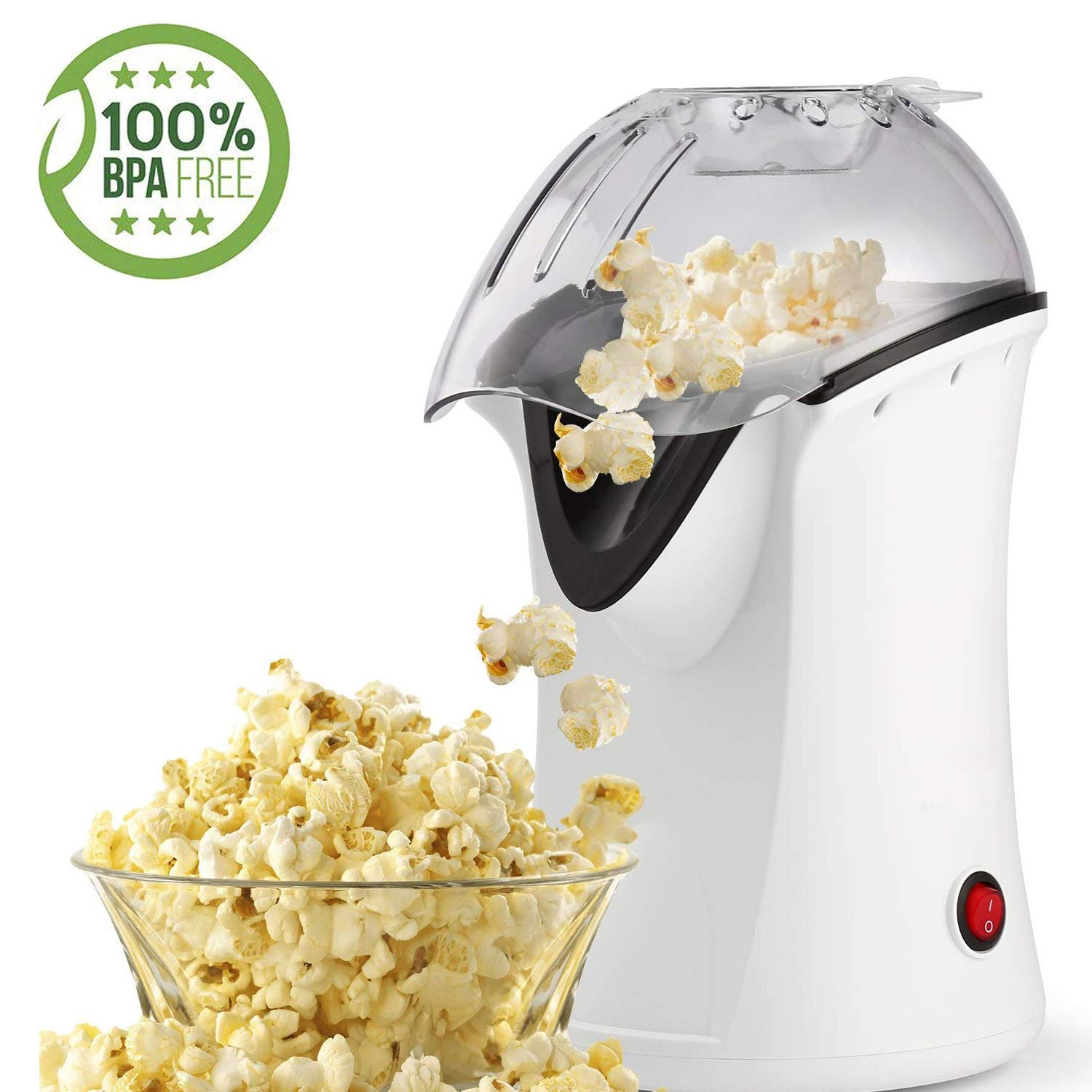 1200W Popcorn Machine Electric Machine Maker 4 Cups of Popcorn, Hot Air Popcorn Popper with Wide Mouth Design (US STOCK) (White)