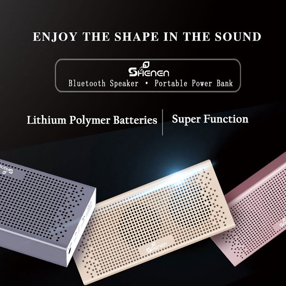 Bluetooth Speakers,SHENEN Portable Wireless Bluetooth Speaker with Built-in 4000mAh Power Bank and Enhanced Bass,20Hrs Battery Life,V4.2 with Microphone for All Bluetooth Devices (Luxury gold) by SHENEN (Image #3)
