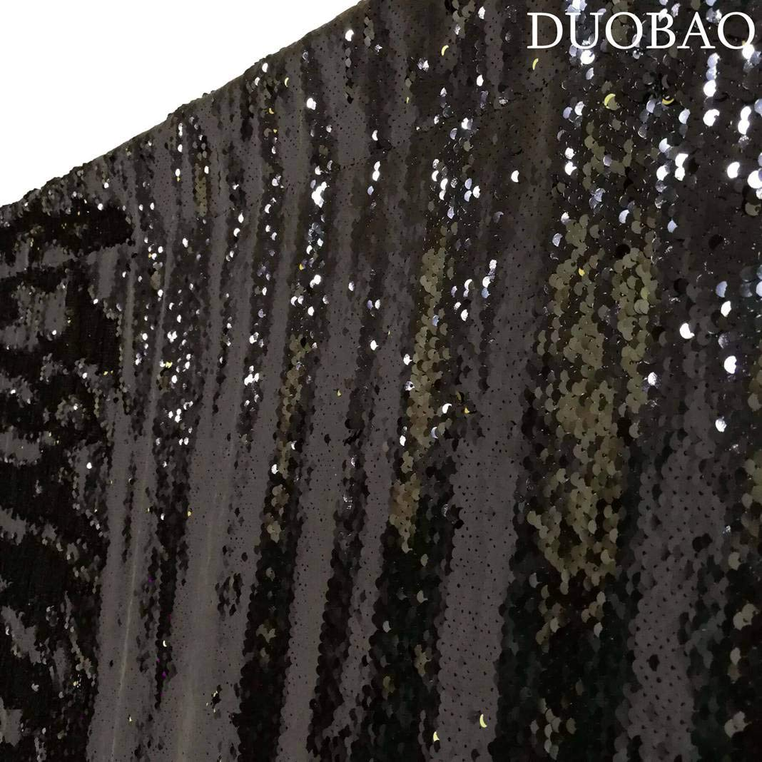 DUOBAO Sequin Backdrop 20FTx10FT Black to Gold Shimmer Backdrop Mermaid Reversible Sequin Backdrop Curtain Bridal Shower Photo Booth Backdrop