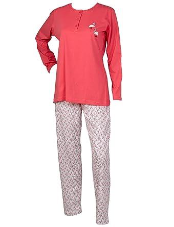 1fba0fad2bbe Ladies Flamingo Pyjamas Long Sleeved Top   Full Length Bottoms 100% Cotton  Pjs Set XL