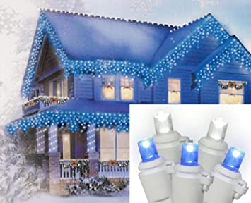 set of 70 pure white and blue led icicle christmas lights white wire