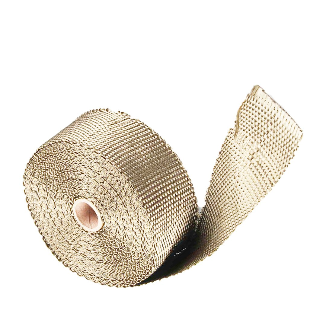 Heat Shield Insulation with Ties for Pipe 33' Roll Titanium Motorcycle Exhaust Tape Thermal Protection Exhaust Heat Wrap(2 inches X 33 feet roll)