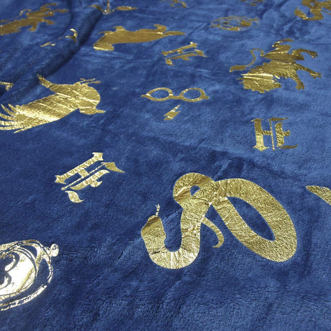 130 x 170 cm Bleu Cerd/á Couverture en Flanelle Harry Potter Hogwarts