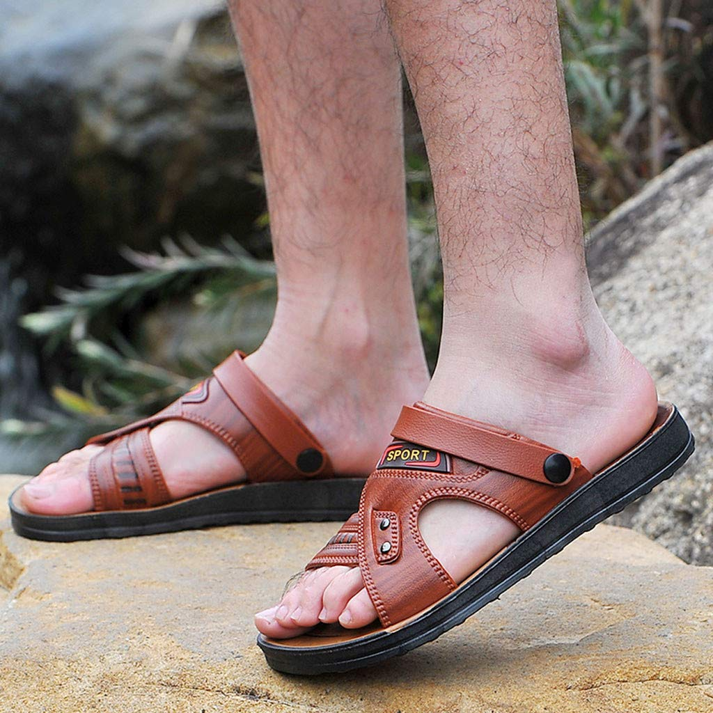 Ballad Mens Open Toe Casual Leather Comfort Shoes Sandals Outdoor Sport Water Shoes Beach Shoes