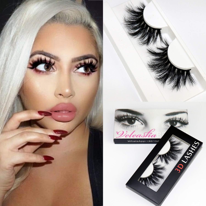 Veleasha High Volume Mink Lashes Cruelty-free 25mm Long 3D Eyelashes Dramatic Look for Makeup (145A)/False Eyelashes