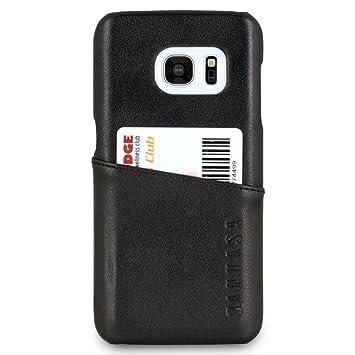 KANVASA Funda Galaxy S7 Piel Negro Case Cover Carcasa Tapa Trasera Cards en Piel Auténtica Premium con Cartera para Samsung Galaxy S7 Original - ...
