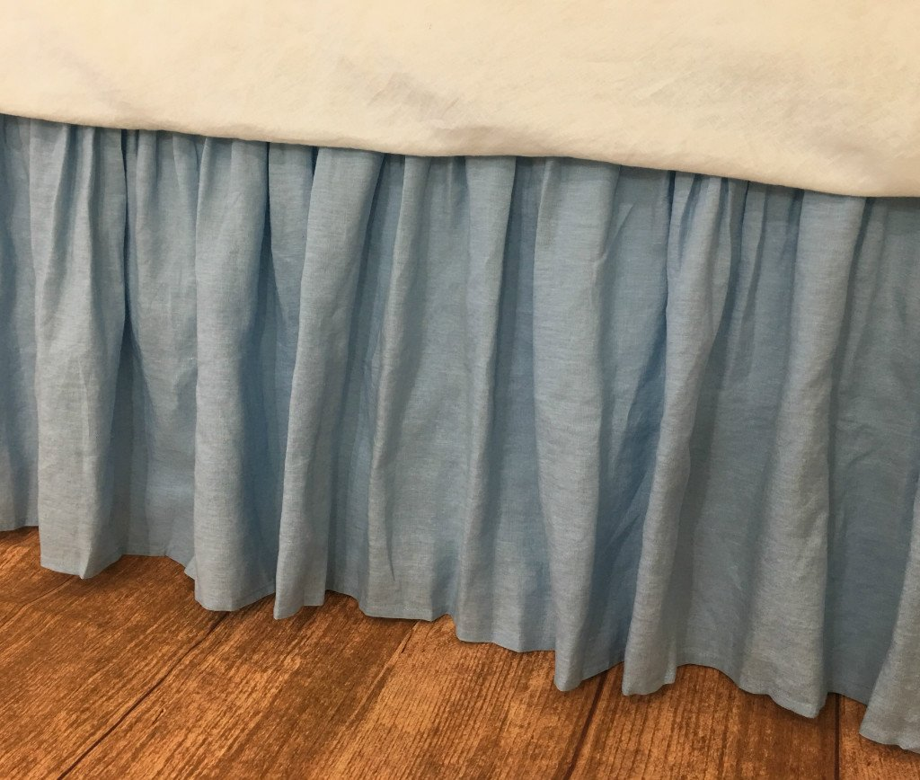 Image of Blue Linen Bed skirt, Natural Linen Bed Ruffles, Linen Dust Ruffle, Shabby Chic Bedding, Twin Bed Skirt, Queen Bed Skirt, King Bed Skirt, HANDMADE, FREE SHIPPING Home and Kitchen