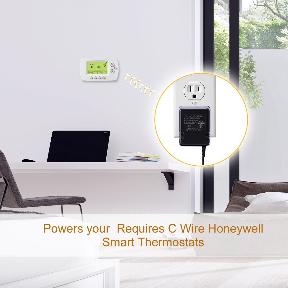 Ac24v C Wire Power Adapterlammu 24v Transformer Honeywell Thermostat Wiring Wifi For Requires Nest Smart Ecobee3 Ecobee4 164ft 5m