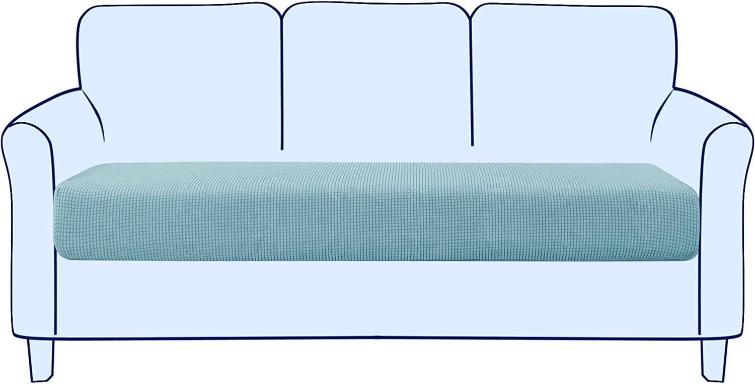 subrtex Couch Sofa Cushion Slipcover Seat Slip Covers Loveseat Stretch Durable Chair Sofa Protector Cushion Spandex Elastic Furniture Protector for Settee Sofa Seat in LivingRoom (Large,Steel Blue)