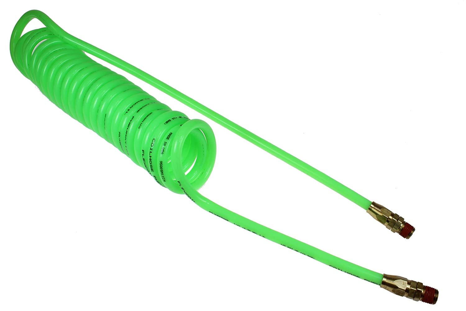 Coilhose Pneumatics PU14-10B-G Flexcoil Polyurethane Coiled Air Hose Neon Green 1//4-Inch Reusable Strain Relief MPT Swivel Fittings 10-Foot Length with 1//4-Inch ID 2