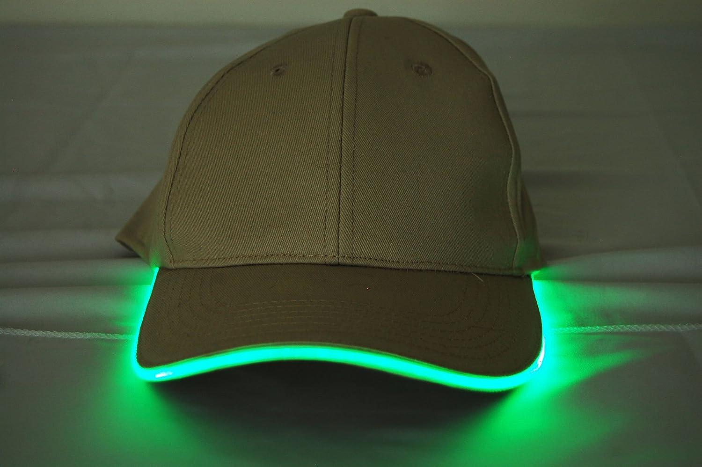 DirectGlow 3 Mode Adjustable Fit LED Light Up Hat Black Fabric Yellow LED