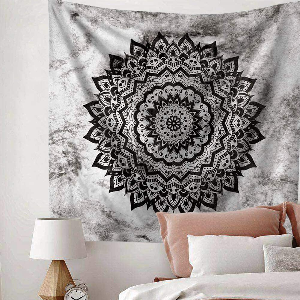 Indusleaf Psychedelic Mandala Tapestry Wall Hanging - Bohemian Living Room Wall Decor for Women Girls, Black and White Boho Medallion Tapestry for Room