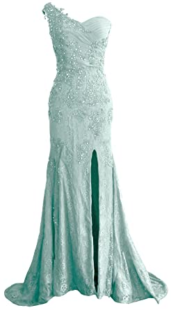 43affcdc756 MACloth Women One Shoulder Long Prom Dress Mermaid Lace Wedding Gown Evening  (US2