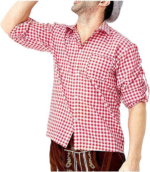 POTOU Camisa para Traje Regional para Hombre, Slim Camisa de Ocio - para Oktoberfest & Tiempo Libre, Rojo, Large: Amazon.es: Hogar