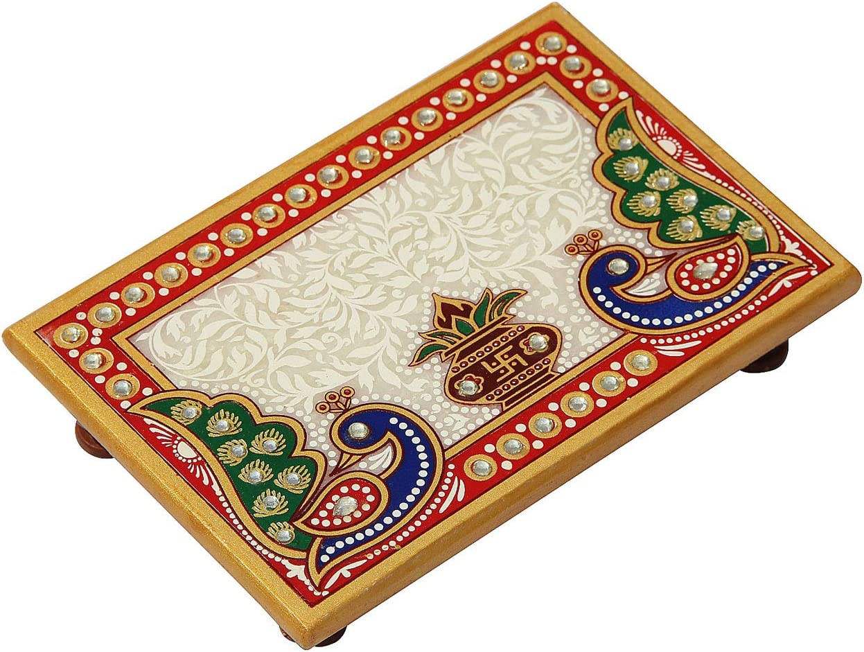 Handicrafts Paradise Marble Puja Chowki Rectangle Shape with Peacock Design and Kalash Used to Keep Pooja Items