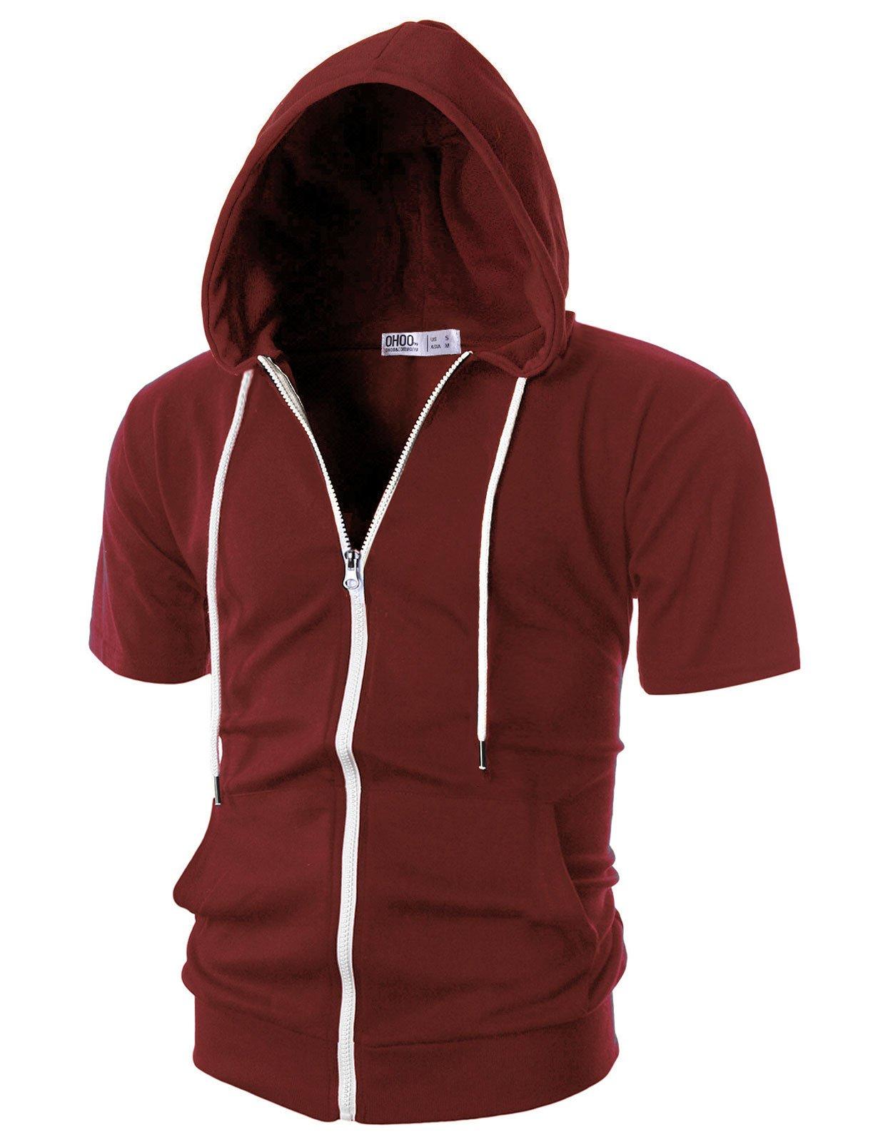 Ohoo Mens Slim Fit Short Sleeve Lightweight Zip-up Hoodie with Kanga Pocket/DCF007-BURGUNDY-L