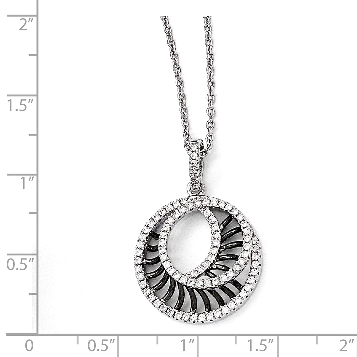 2 Extender Brilliant Embers Sterling Silver Rhodium-plated Polished CZ Circle Pendant Necklace 18