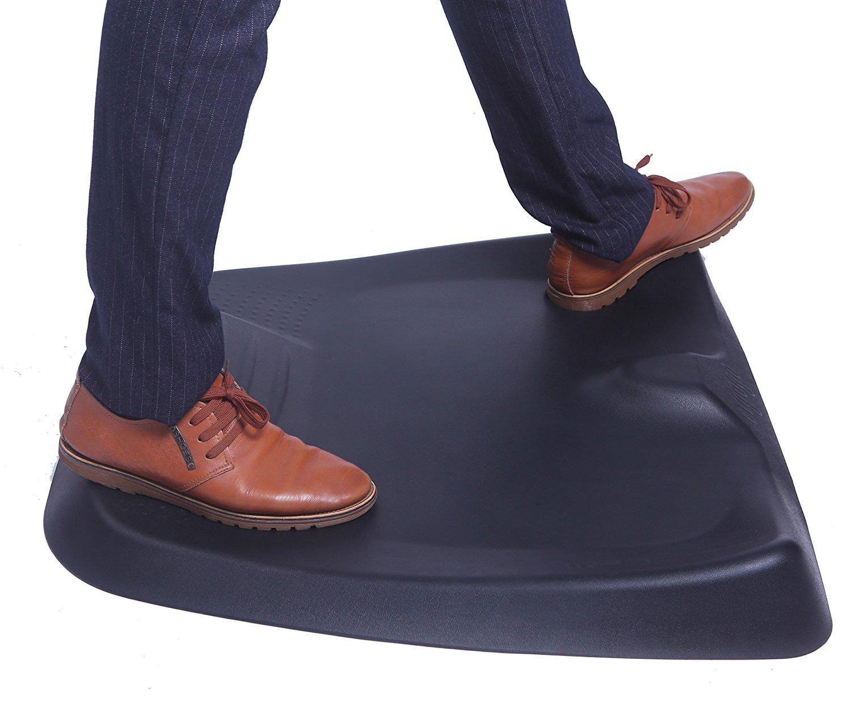 Ergogo Standing Desk Mat Comfort Mat Not-Flat Anti Fatigue Mat with Calculated Terrain For Office Workroom(26''x29''x3'', black) by Amcomfy