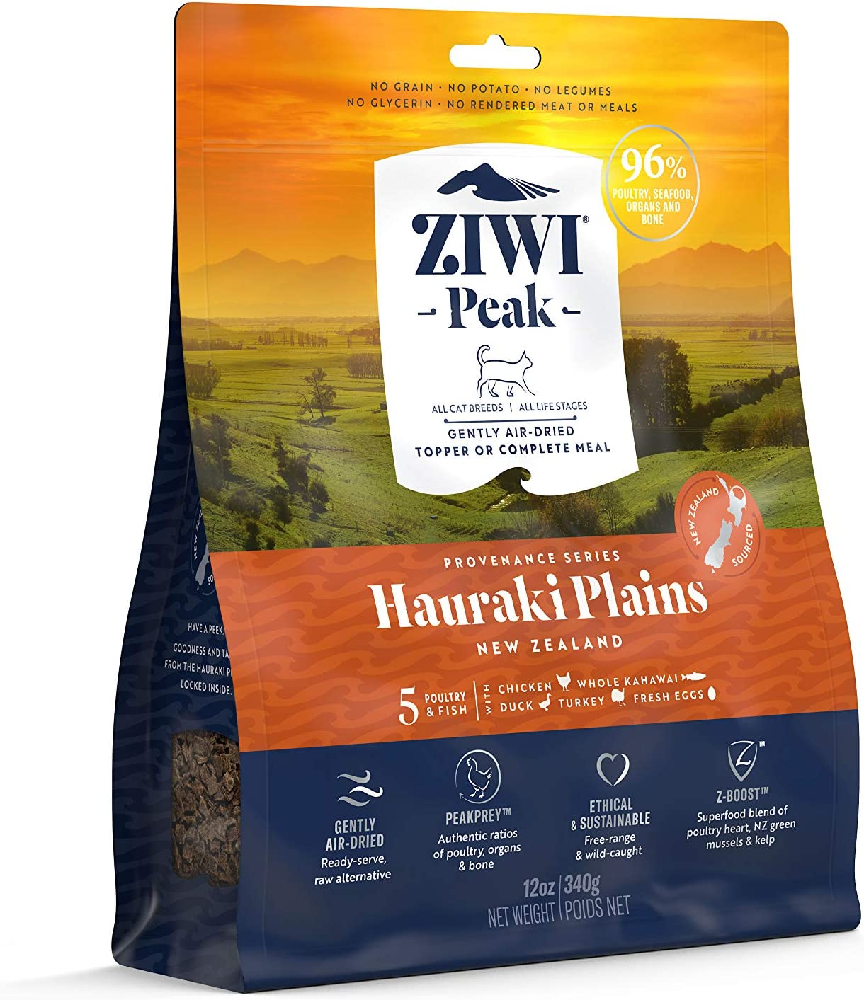 ZIWI Peak Provenance Air-Dried Cat Food – All Natural, High Protein, Grain Free with Superfoods (Hauraki Plains, 12oz)