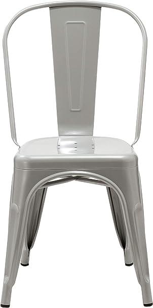 Materiale:Metallo Duhome Sedia da Sala da Pranzo in Metallo Ferro con Schienale Stile Vintage impilabile Design Industriale Selezione Colore 666 Colore:Argenteo
