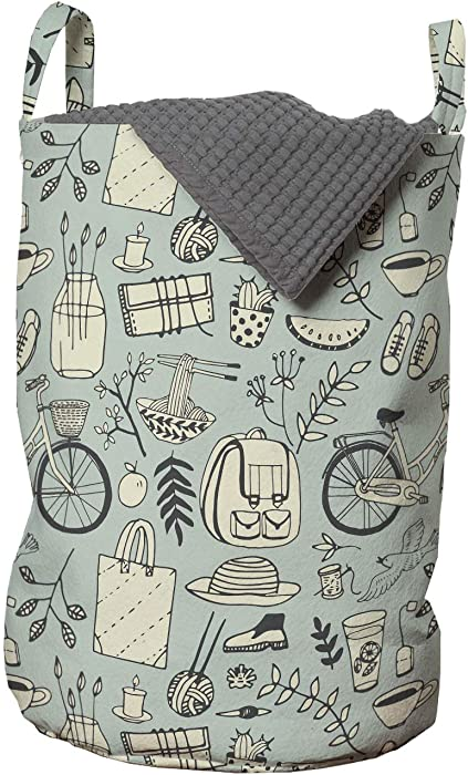 Ambesonne Hipster Laundry Bag, Summer Mood Illustration with Flowers Bicycle Backpack and Food, Hamper Basket with Handles Drawstring Closure for Laundromats, 13