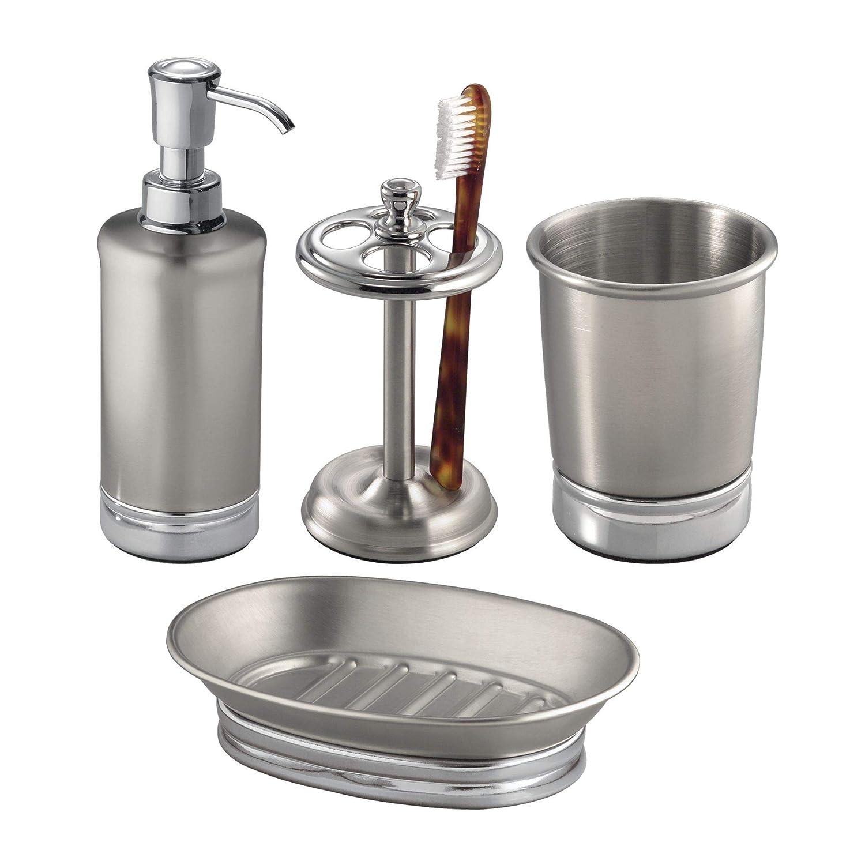 mDesign 4-Piece Metal Bath Accessories Set, Soap Dispenser, Tootbrush Holder, Tumbler, Soap Dish - Split Finish