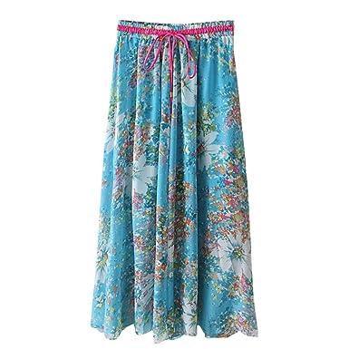 ZKOOO Boho Larga Falda Mujer Verano Estampado Floral Midi Faldas ...