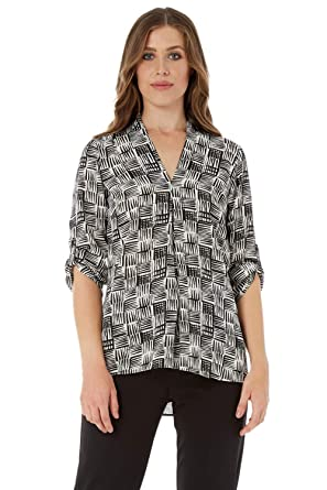 0e9962c2 Roman Originals Women V Neck Front Pleat Top - Ladies Monochrome Abstract  Printed 3/4 Length Sleeve Everyday Casual Wear Blouse Tops Black: Amazon.co. uk: ...