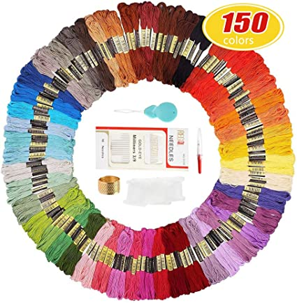 Embroidery Thread Friendship Bracelets Strings,100 Skeins Premium Rainbow Color Embroidery Floss with 12 Pieces Floss Bobbins for Cross Stitch kit and DIY Craft