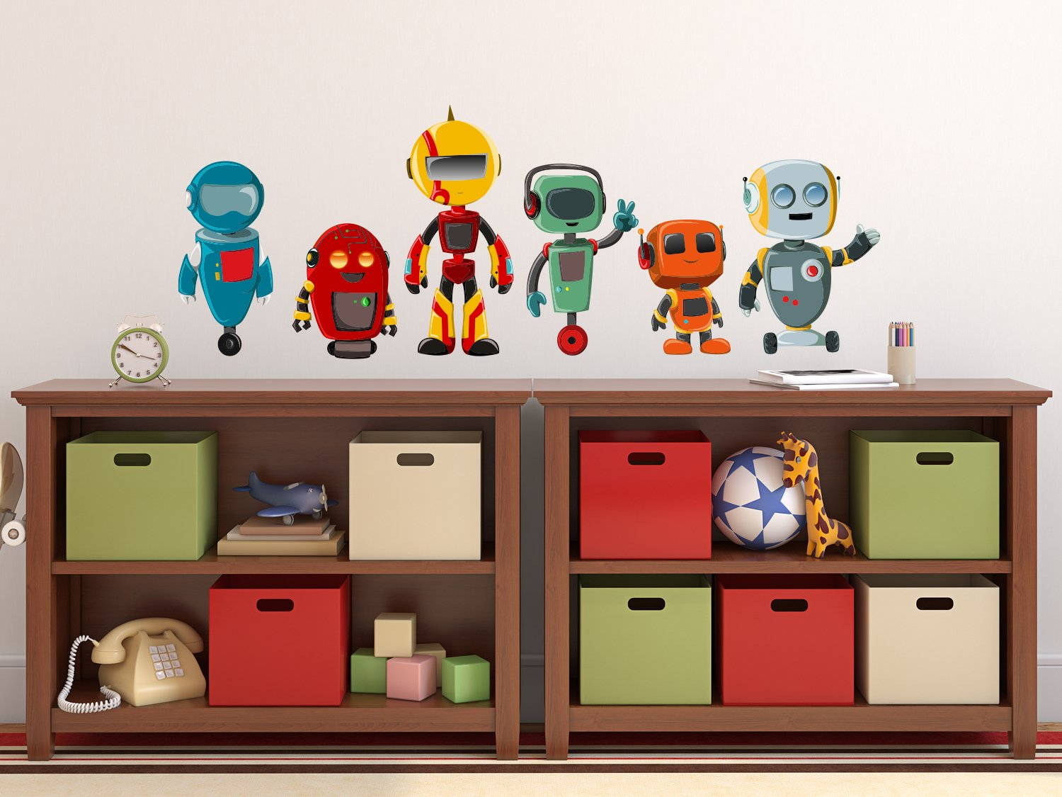Sunny Decals Robot Fabric Wall Decals (Set of 6), Large