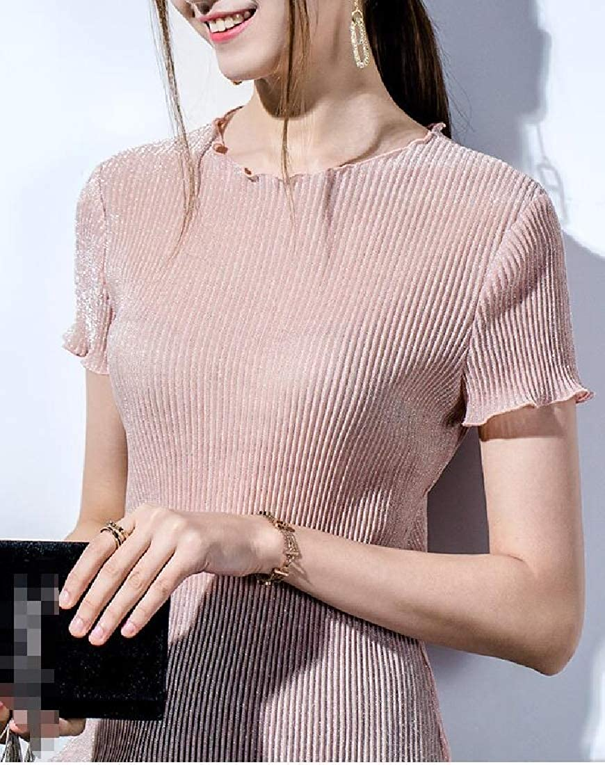KXP Womens Ruffle Shiny Short Sleeve Top Tee Chiffon Summer T-Shirts