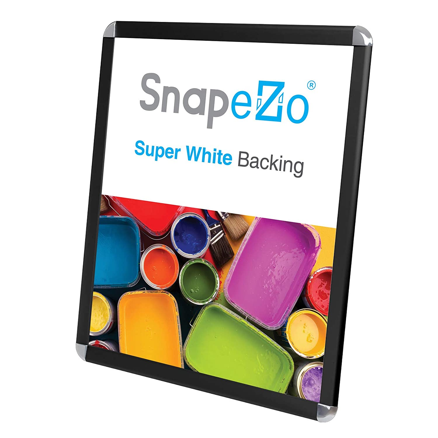 SnapeZo Silver Movie Poster Frame 27x40 Inches Round-Cornered Wall Mounting Professional Series for One Sheet Movie Posters 1.25 Inch Aluminum Profile Front-Loading Snap Frame