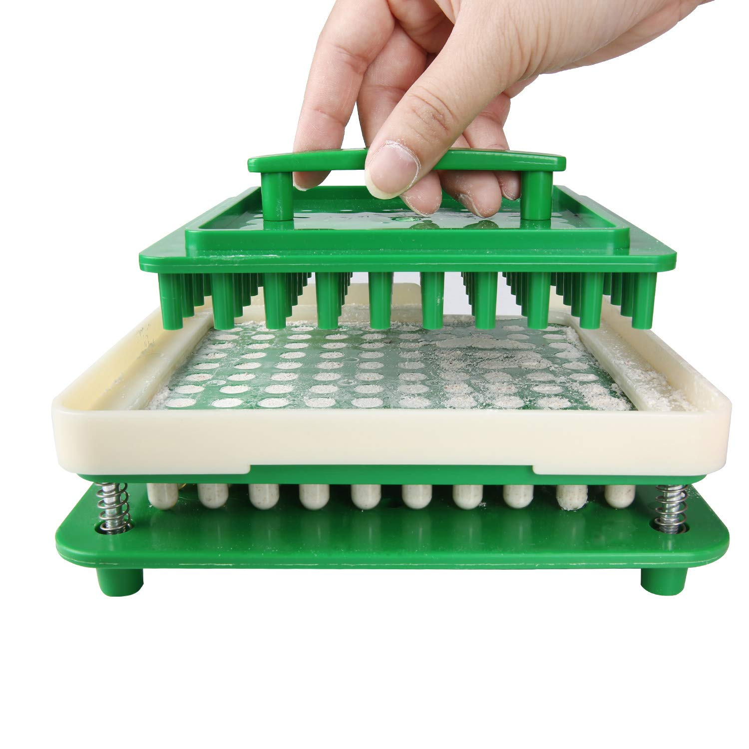 100 Hole (000#) Capsule Holder with Tamper for Size 000 Empty Capsules Holding Tray Pill Dispensers & Reminders -Green by wananfu (Image #4)